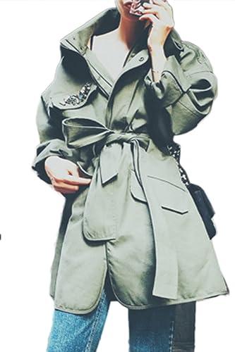 La Mujer Casual De Manga Larga Chaqueta De Ejército Outcoat Punk MIDI Oversize Con Cinturon
