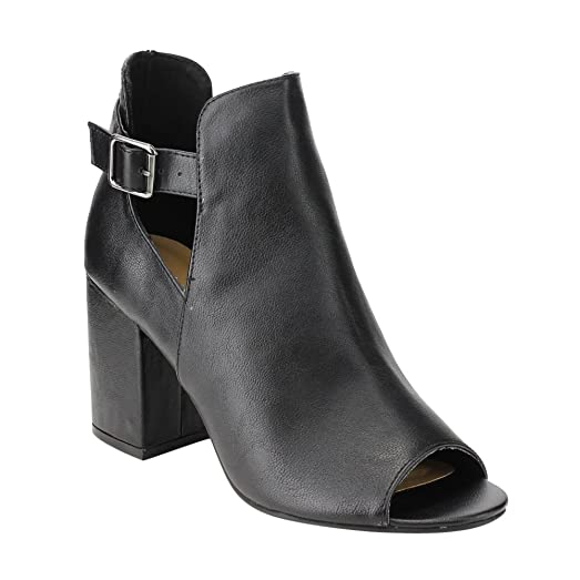 EE33 Women's Buckle Cut Out Sides High Block Heel Ankle Bootie