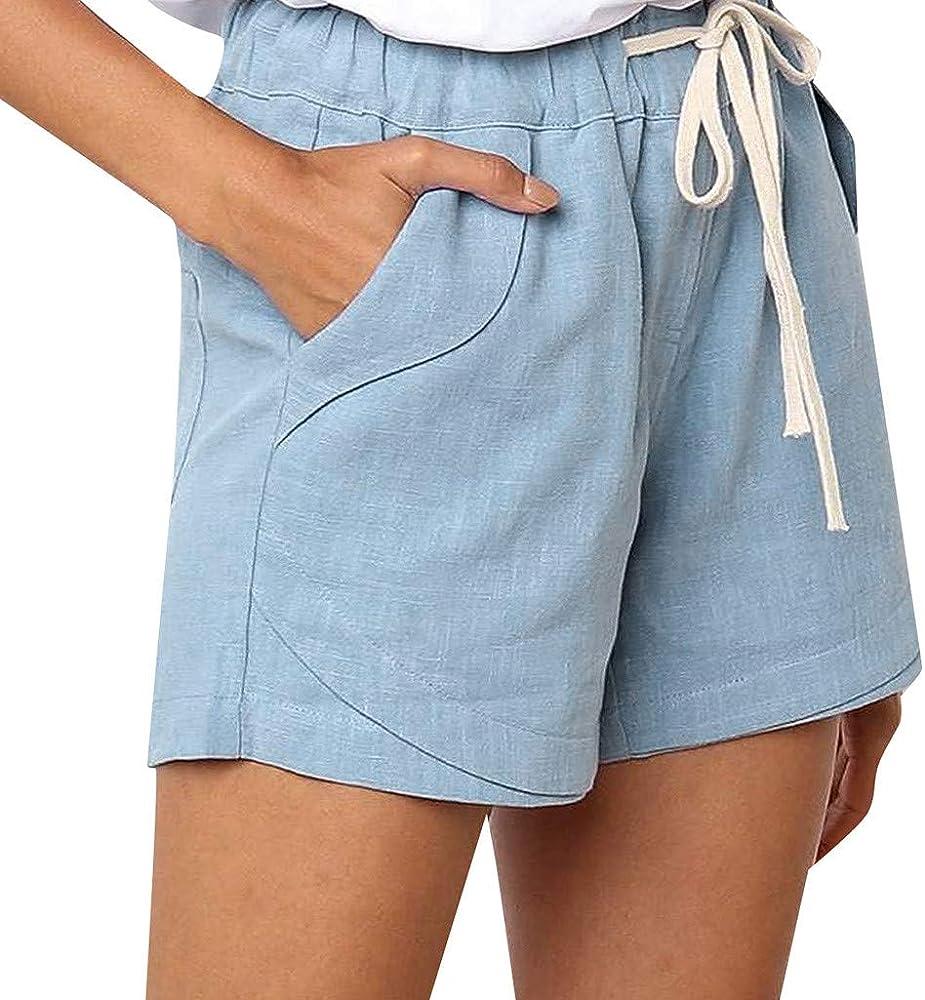 beautyjourney Pantalones Cortos Casual Mujer Color Sólido en ...