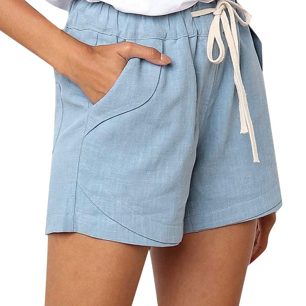 ZEFOTIM ✿ Casual Pants for Women Casual Solid Color Cotton Linen Pockets Bandage Elastic Waist Shorts Pants(Blue,Small) by ZEFOTIM