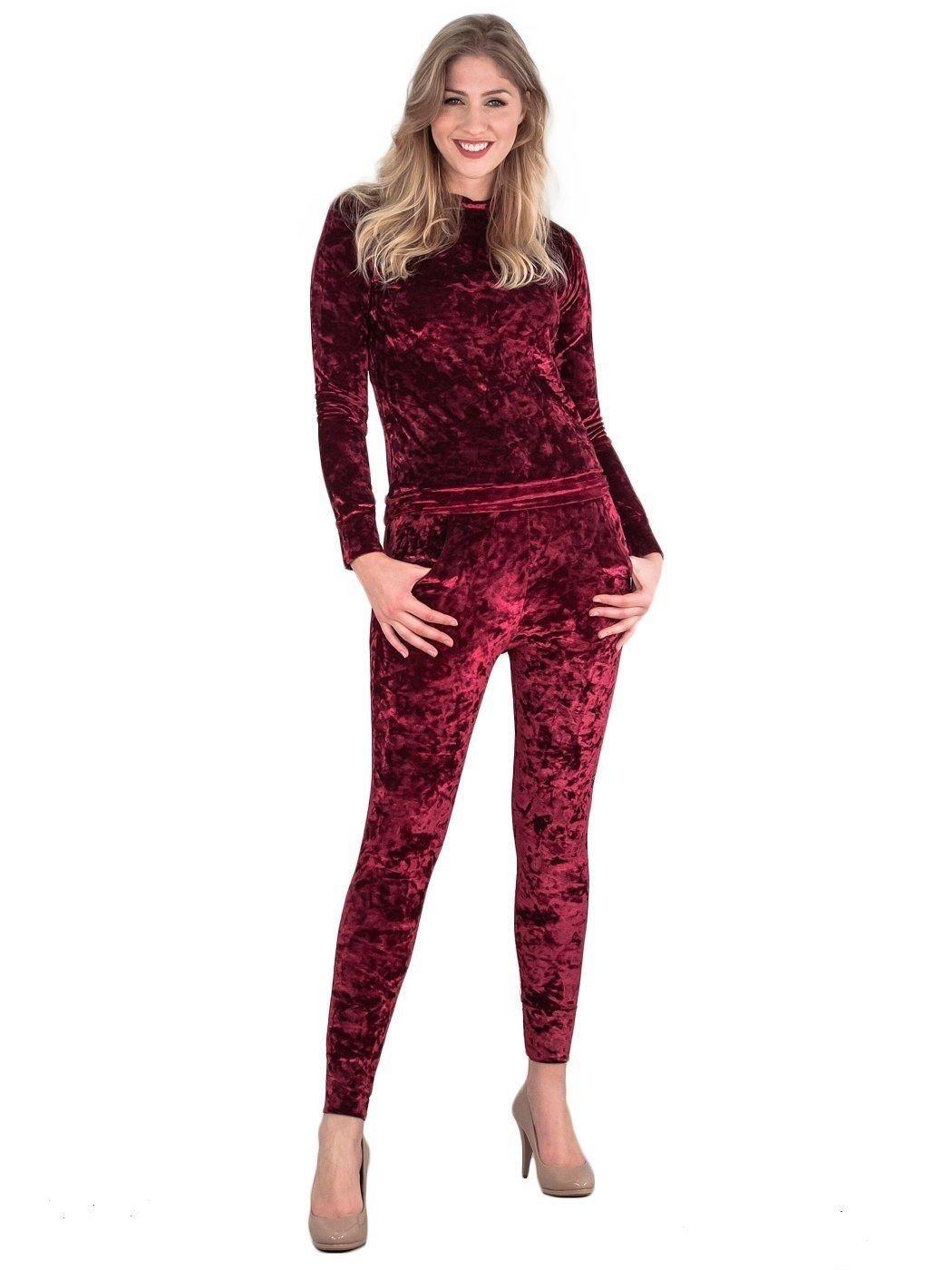 mafhh55 Women's Crushed Velour Velvet Legging and Top Long Sleeves Tracksuit Dress