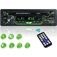 Aigoss Radio Coche Autoradio Bluetooth 1 DIN 60W x 4 FM Estéreo de Manos Libres Llamadas, Apoyo de Reproductor MP3 Luces…