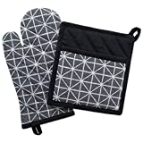 """DII 100% Cotton Jacquard Quilted Pot Holder(8x8.5"""") and Oven Mitt(6.5x12"""") Set, Black and White Geometric Design, Heat Resistant and Machine Washable for Every Home Kitchen-Triangle"""