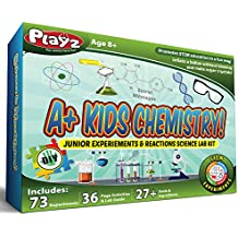 Playz STEM A+ Kids Chemistry Junior Experiments & Reactions Science Lab Kit - 32+ Experiments, 36 Page Laboratory Guide, and 27+ Tools & Ingredients for Boys, Girls, Teenagers, Kids