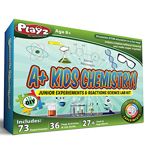 Playz STEM A+ Kids Chemistry Junior Experiments & Reactions Science Lab Kit - 32+ Experiments, 36 Page Laboratory Guide, and 27+ Tools & Ingredients for Boys, Girls, Teenagers, & Kids by Playz
