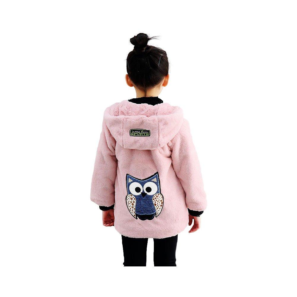 Big Girls Pullover Winter Jackets Hooed Fleece Hoodies Wool Warm Thick Coats (Pink, 8) by Star Flower (Image #1)