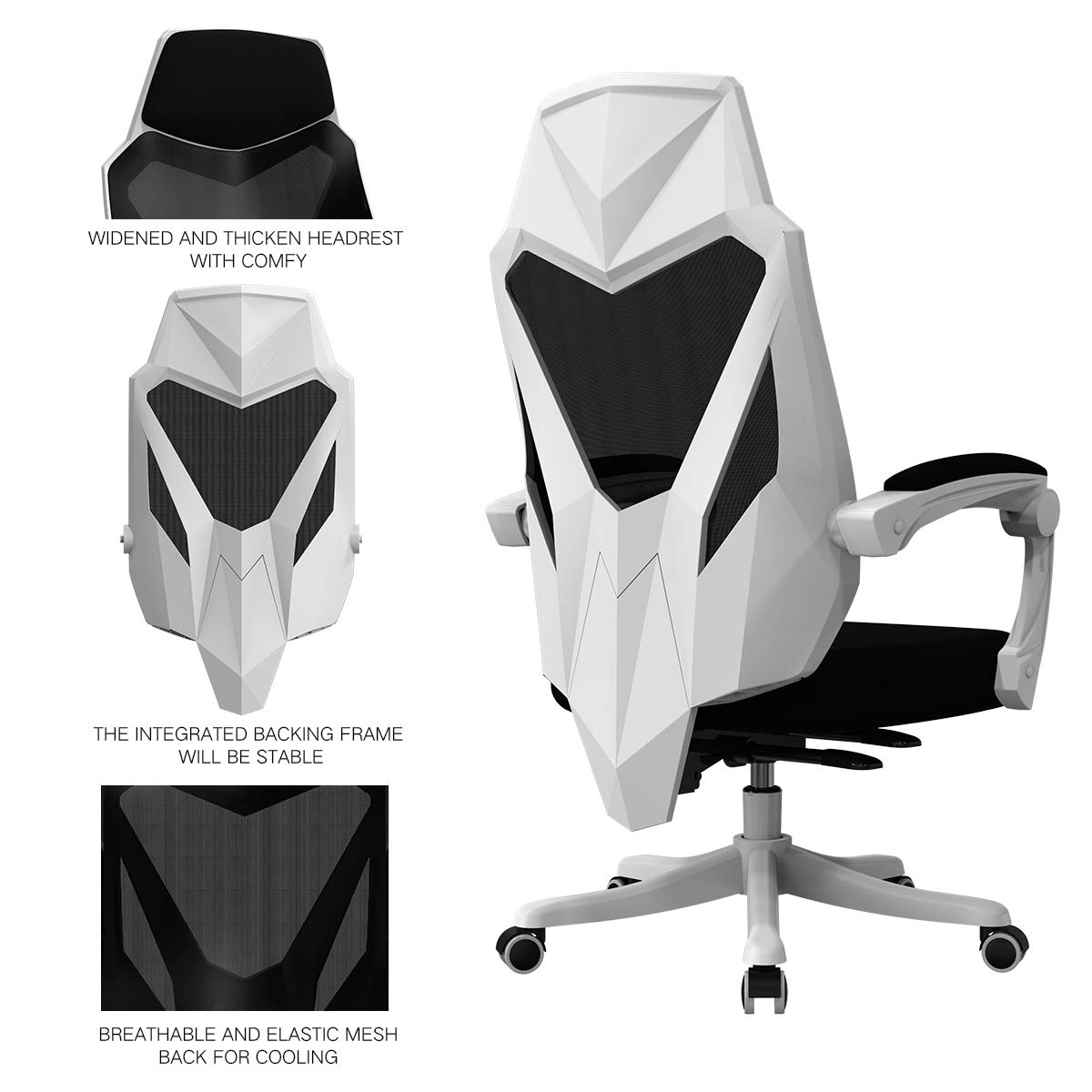 Hbada Office Computer Desk Chair - Ergonomic High-Back Swivel Task Gaming Chair - White by Hbada (Image #3)