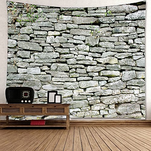 Msliy Red Brick Wall Stone Tapestry Polyester Fabric Brick Wall Theme Tapestry Hanging for Bedroom Living Room Dorm (gris, 59x51inches)