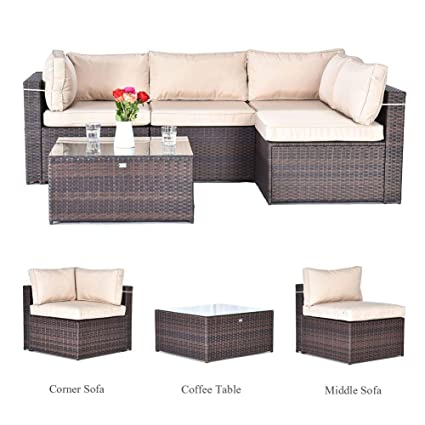 Gotland 5pcs Outdoor Rattan Sectional Sofa Patio Wicker Furniture  Set(Brown),with Weather Resistant Tan Cushions & Tea Table