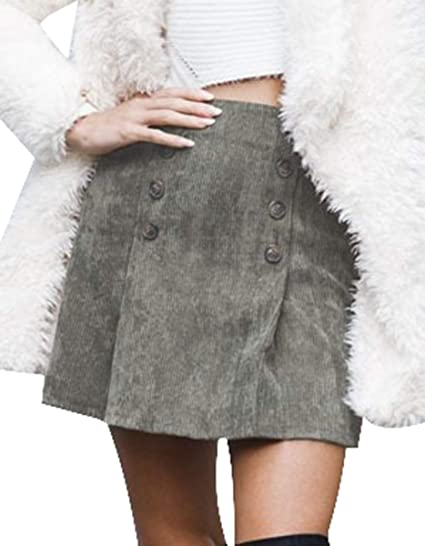 BLACKMYTH Mujer Moda Color Puro Botón Pana Cintura Alta A Línea ...