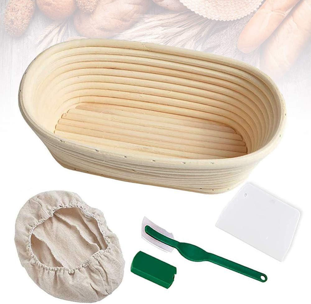"Bread Banneton Proofing Basket 10"" Oval Bread Proving Rising Baskets Bowl Set for Dough Baking Gifts for Artisan Bread Making Starter Homemade"