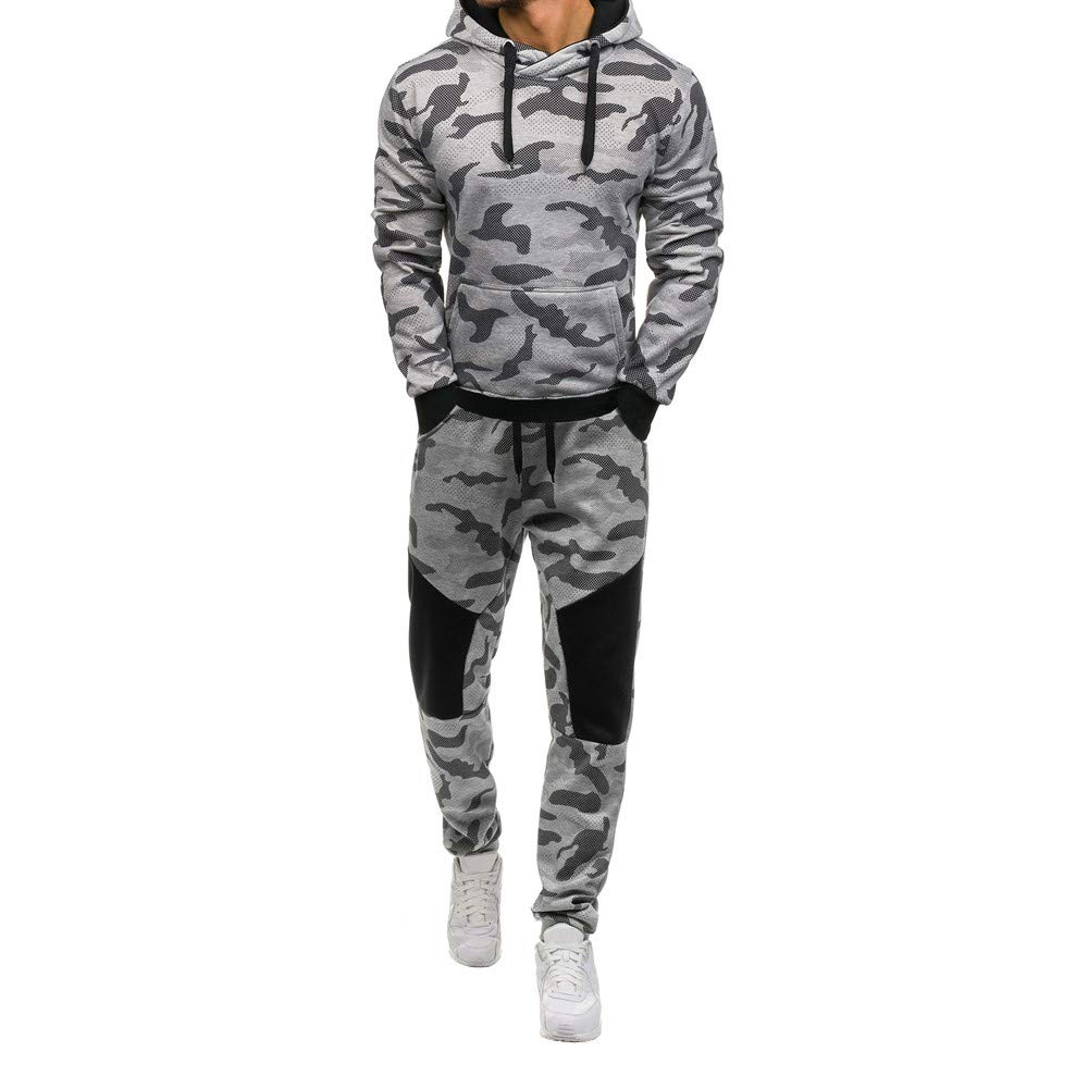 Sumen Men Camouflage Print Long Sleeve Sweatshirt Top Pants Sets Athletic Tracksuits