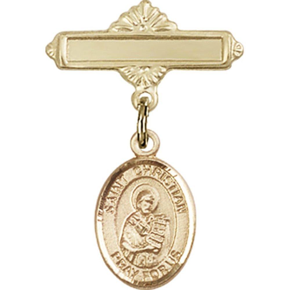 ゴールドFilled Babyバッジwith聖Christianデモステネスチャームand Polishedバッジピン1 x 5 / 8インチ   B00PQ7RGBS