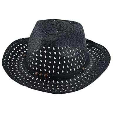 a5a8be6958 Turkey Summer Baby Cowboy Straw Hats for Children Summer Beach Sun Hat Caps  Suit for 2-6 Years Kids (Black)  Amazon.co.uk  Clothing