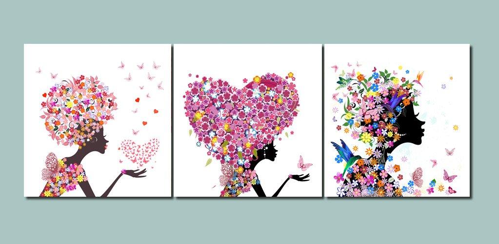 LB Flores,Plantas,Tulipanes,Blanco/_Cuadro de Pintura al /óleo Moderna Impresi/ón de la Imagen en la Lona Arte de la Pared para la Sala de Estar,Dormitorio,decoraci/ón del hogar,3 Piezas 40x40,con Marco