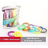 MOHOO 3D Stylo Fils Filament /Matériaux d'impression pour 3D Pen - 1.75mm/ABS/ 20PCS (Chaque PCS 5m)