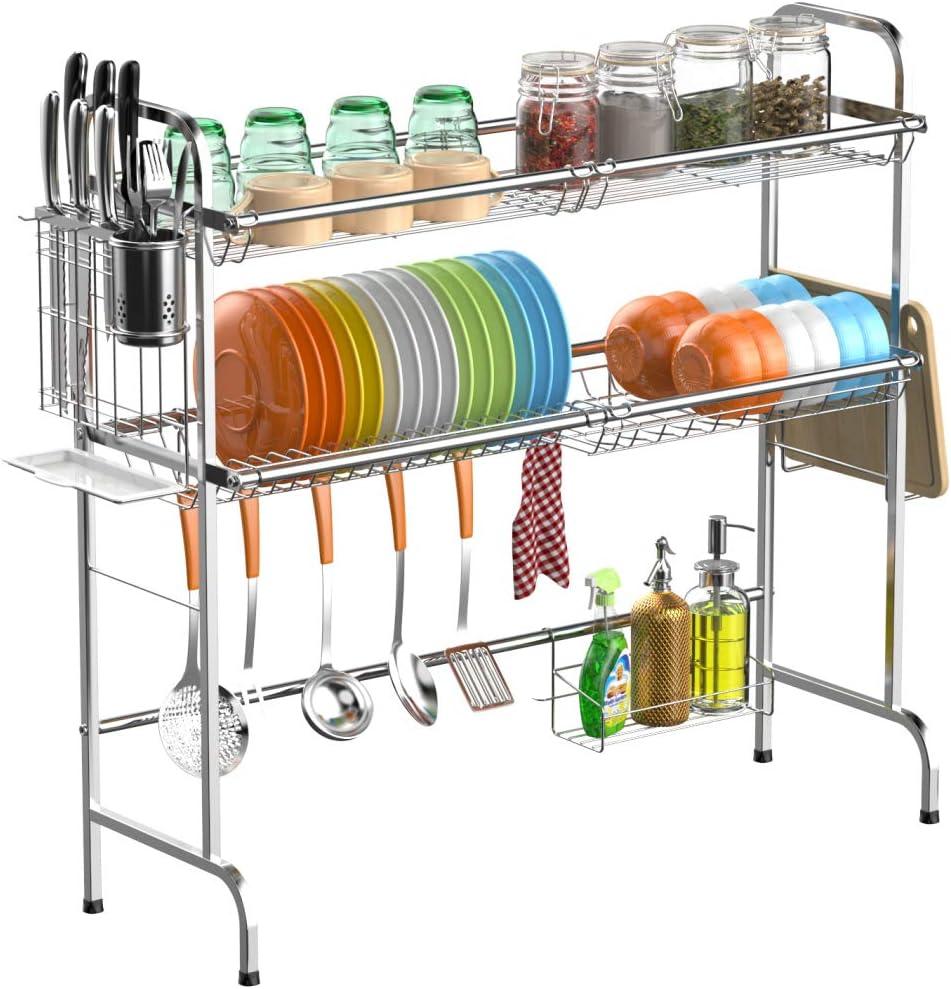 Cambond シンク上食器乾燥ラック 2段 大皿水切り棚 プレミアム 201 ステンレススチール 食器棚 台所カウンター用 食器ホルダー付き シルバー