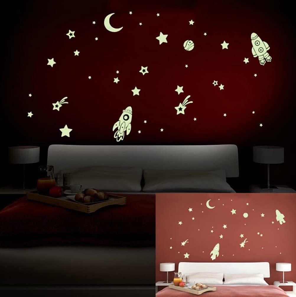 Amazon Com Oocc Space Ship Stars Fluorescent Dot Glow In The Dark Stickers Wall Decals Home Art Decor Decal Vinyl Removable Radium Night Glow Wall Decals Glow Night Star Sticker Mural Art Wallpaper