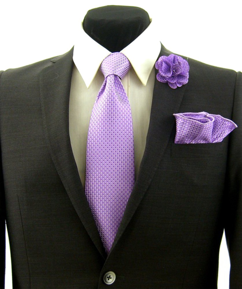 Lavender Purple Polka Dot Necktie Tie, Round Pocket Square and Lapel Pin Box Set