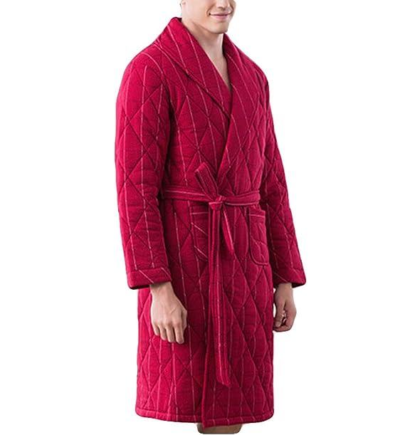Pajamas Rui Otoño E Invierno Poema Punto Grueso Tres Batas Bata Acolchada Chaqueta Masculina Chándal Caliente Suelta XL: Amazon.es: Ropa y accesorios