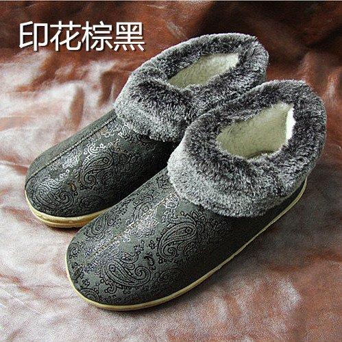 Fankou Autunno Inverno pacchetto con il cotone pantofole home giovane davvero di spessore pavimento caldo pantofole ,27(39-40), timbro di colore marrone scuro