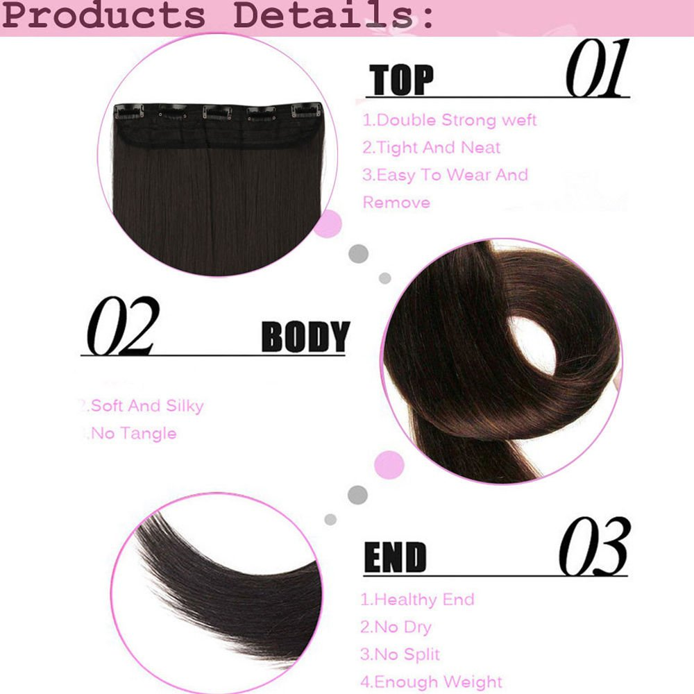 FIRSTLIKE 26'' Inch Straight Black To Wine Red Clip In Hair Extensions Thick 3/4 Full Head Long One Piece 5 clips Soft Women Beauty Hairpiece by FIRSTLIKE (Image #3)