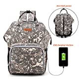 ELEOPTION Waterproof Diaper Backpack Large Capacity Baby Bag Nappy Bags For Mom Dad With Insulated Bottle Pockets And Quick Charge USB Port For Travel Baby Care (Camouflage)
