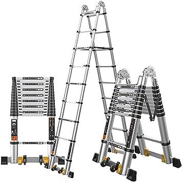 AOLI Multifunción telescópica Escalera, Extensión escalera portátil extensible antideslizante plegable Escalera Escalera de Aluminio-A4 2.9 + 2.9M,A4: Amazon.es: Bricolaje y herramientas