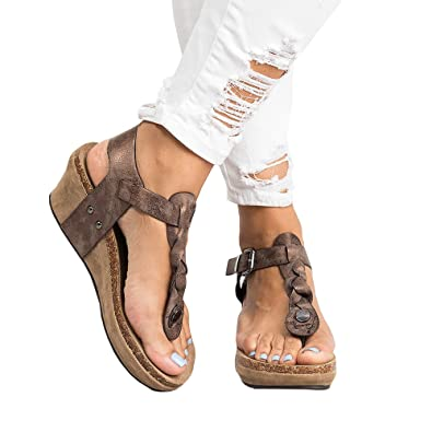 a619650ad Syktkmx Womens Thong Braided T Strap Wedge Platform Cork Ankle Strap Mid Heel  Sandals
