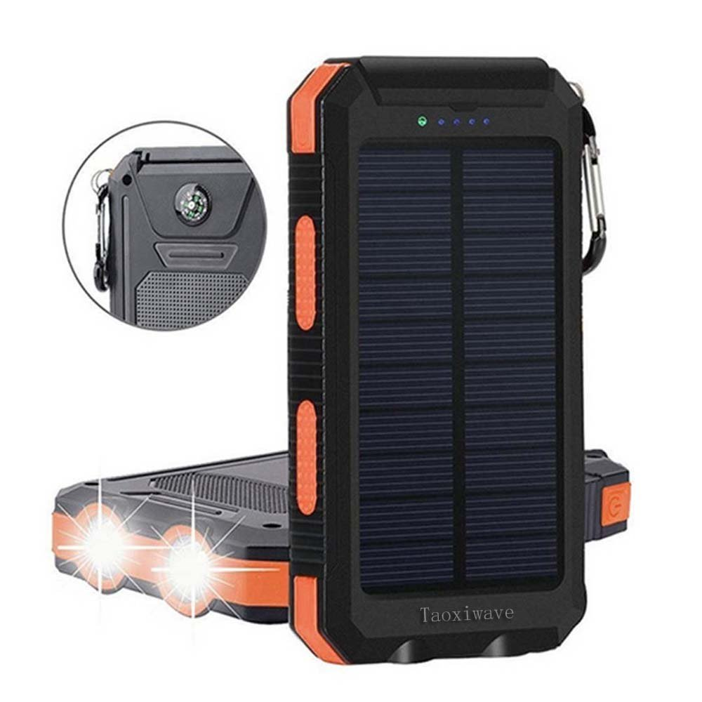 Solar Power Bank 20000mAh, Solar Charger Waterproof Portable External Backup Outdoor Cell Phone Battery Charger with Dual LED Flashlights,Solar Panel for iPhone,Android Cellphones (Black & Orange)