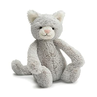 Jellycat Bashful Grey Kitty Stuffed Animal, Medium, 12 inches: Toys & Games