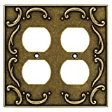 Brainerd 126384 French Lace Double Duplex Outlet Wall Plate / Switch Plate / Cover, Burnished Antique Brass