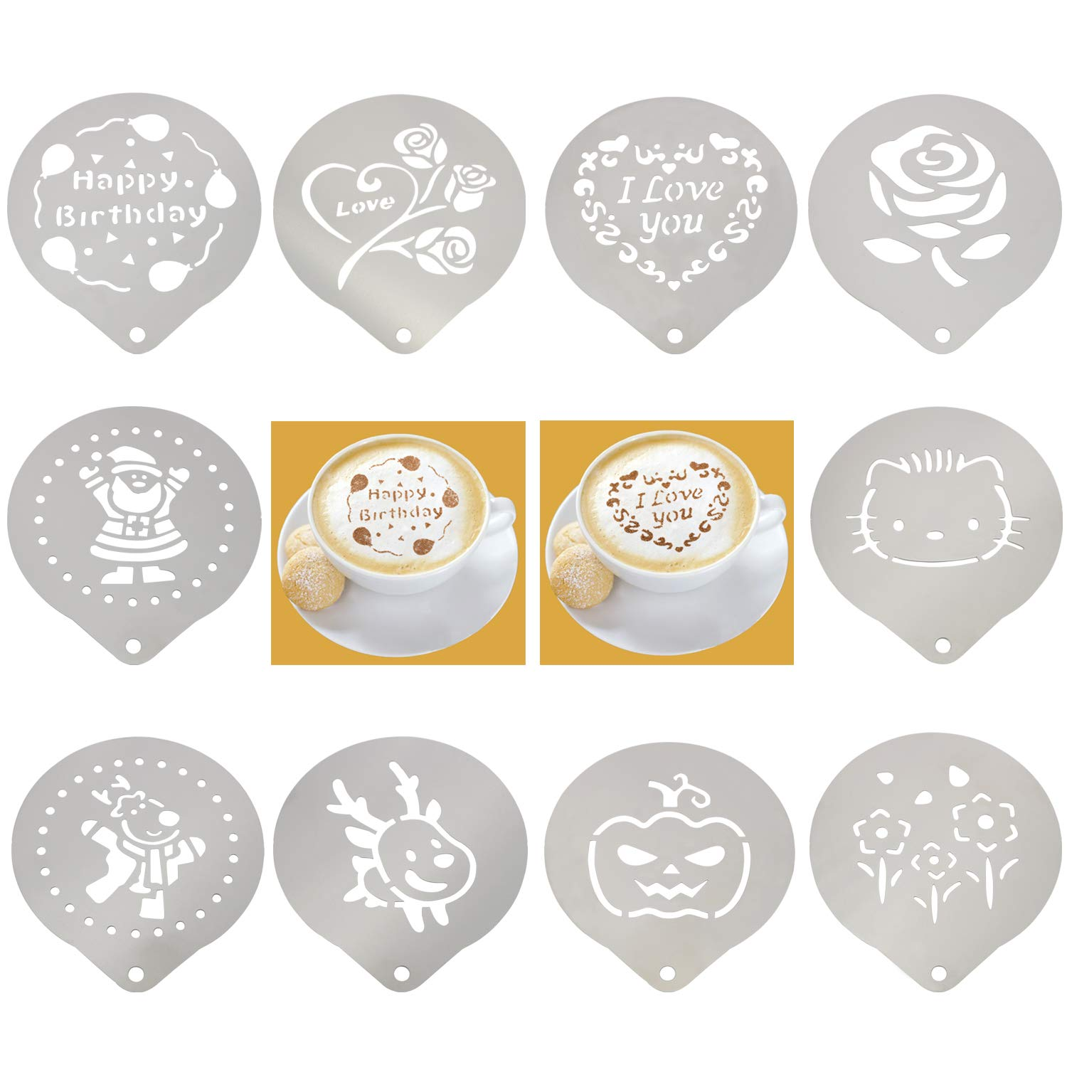 Coffee Art Stencils Stainless Steel Barista Stencil Design Template Decorating Cappuccino Latte Cookie Cupcake Bread Cocktail - 10 Pack by LOOGI
