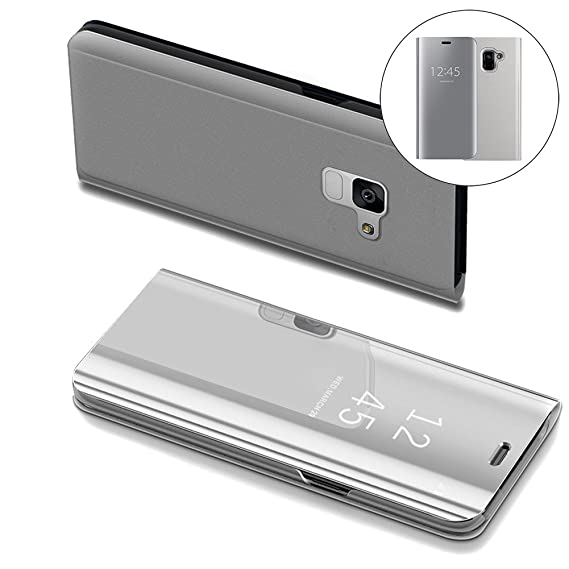 online retailer de2ba 0214c Samsung A8 2018 Case, COTDINFORCA Mirror Design Clear View Flip Bookstyle  Luxury Protecter Shell With Kickstand Case Cover for Samsung Galaxy A5 ...
