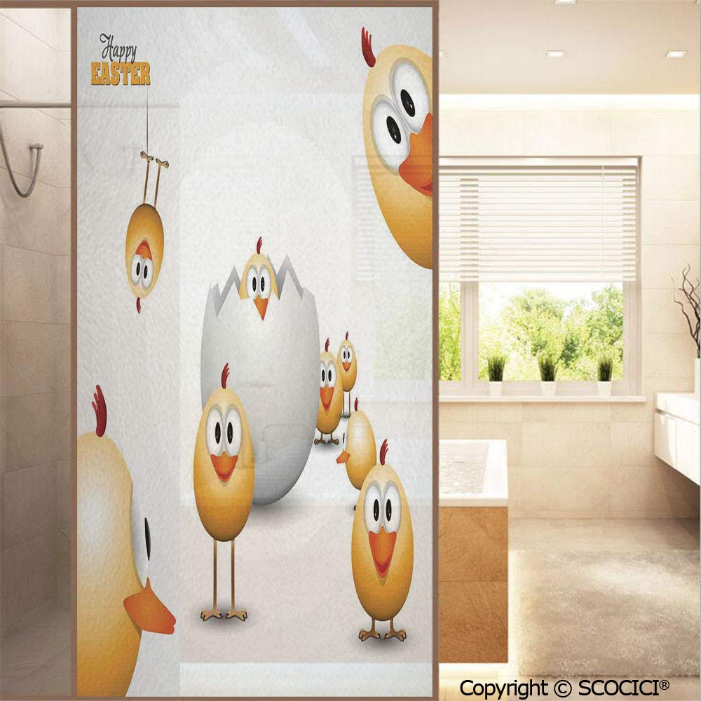 """SCOCICI No Glue Window Films Happy Chicks Emerging Out of a Cracked Egg Funny Cartoon Style Country Style Stained Opaque Glass Stickers Decor Home Hotel Resturant (23.6""""x47.2"""")"""