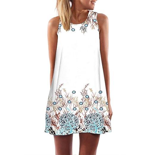 Women Casual Summer Printing Sleeveless Evening Party Dress Beach Vest Dress