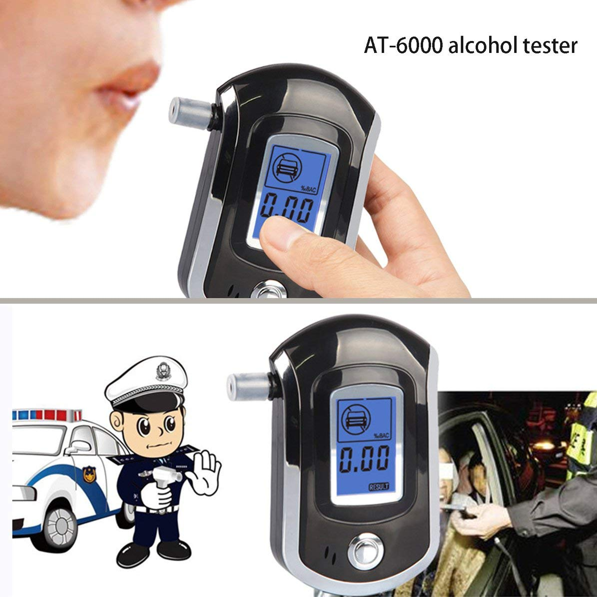 Corneliaa-UK AT-6000 Breathalyzer Alcohol Detector Digital LCD Screen Battery Power Hand-Hold Professional BAC Tracker with 5 Mouthpieces