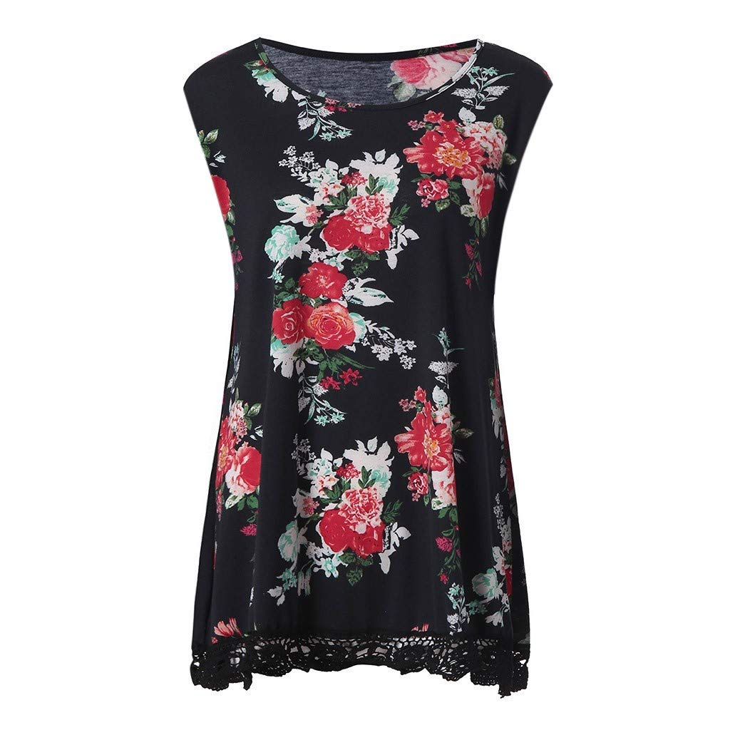 7cae3d2a5724f4 Amazon.com  vermers Womens Floral Print Sleeveless Lace Patchwork Tank Tops  Casual Loose O-Neck Tunics Vest T Shirts Blouse  Clothing