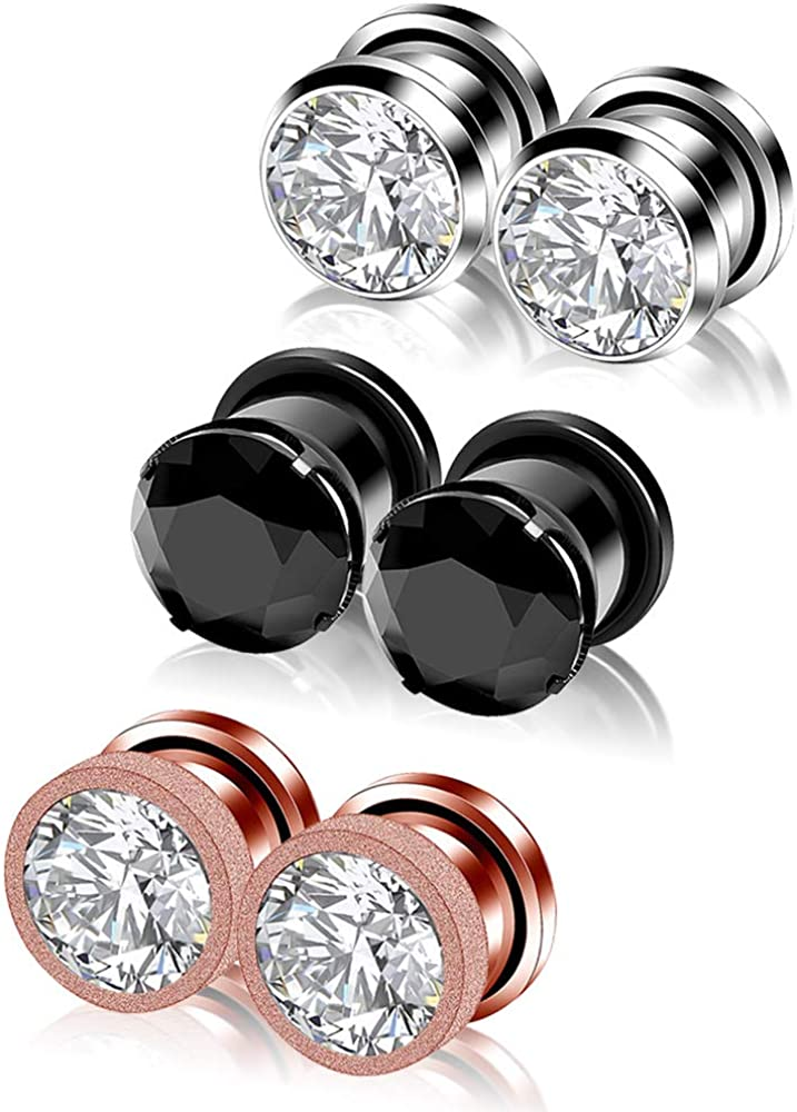 YOFANST 6pcs Stainless Steel Clear Black Zircon Ear Tunnels Clear CZ Ear Stretcher Expander Piercing Diamond Gauge Plugs Set 8g-5/8 inch