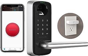 ULTRALOQ Lever The Most Advanced Smart Lock + Bridge WiFi Adaptor, Keyless Entry Bluetooth Fingerprint Digital Keypad Door Lock with Reversible Handle, Compatible with Alexa, Google Assistant, IFTTT