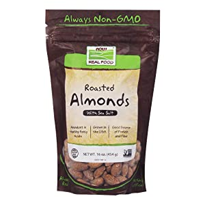 NOW Foods, Almonds, Roasted with Sea Salt, Source of Protein, Fiber and Healthy Fatty Acids, Grown in the USA, Certified Non-GMO, 1-Pound