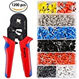 Crimper Plier Set, Preciva 0.25-6.0mm² Self-adjustable Ratchet Wire Crimping Tools with 1200 Wire Terminal Crimp Connector Insulated and Uninsulated Wire End Ferrules