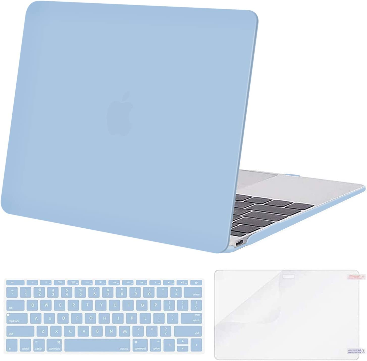 MOSISO Plastic Hard Shell Case & Keyboard Cover Skin & Screen Protector Compatible with MacBook 12 inch with Retina Display (Model A1534, Release 2017 2016 2015), Airy Blue