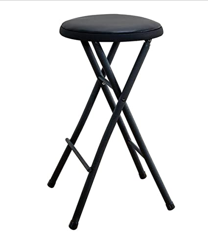 Black Folding Stool Chair 24 Lightweight Home Office Stool For Kids Cushioned Seat Metal Frame Portable Convenience Quick Seat Anywhere