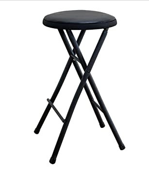 Superior Black Folding Stool Chair 24u0026quot; Lightweight Home Office Stool For Kids  Cushioned Seat Metal Frame