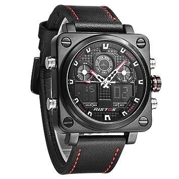 SW Watches RISTOS Relojes Deportivos Cuadrados LED Reloj Digital Múltiple De Zona Horaria para Hombres Top Brand Luxury Reloj De Pulsera De Cuarzo De Cuero ...