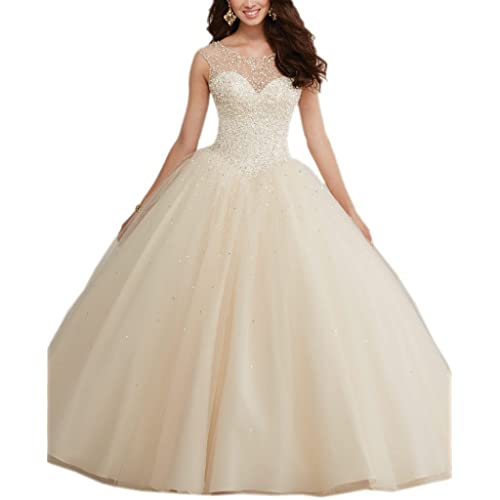 Mollybridal Ball Gowns Tulle Long Pearls Sheer Neckline Quinceanera Prom Dresses 2017