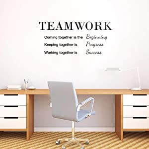 """Vinyl Wall Art Decal - Teamwork Coming Together is The Beginning - 18"""" x 40"""" - Modern Decals for Home Living Room Bedroom Sticker - Trendy Positive Stickers Office Apartment Workplace Decor"""