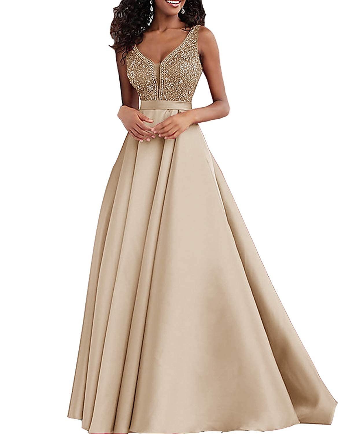 Champagne Sulidi Womens Double V Neck Prom Dresses 2019 Long Beaded Formal Evening Wedding Party GownsC148