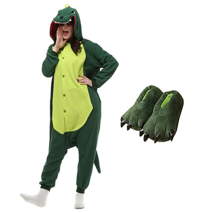 Casa Dinosaurios Onesie Pijamas Kigurumi Animal Unisexo para Adultos Traje  de Cosplay Disfraz para Festival de Carnaval Halloween Navidad Pijama y  zapatos ... 8e465e711462